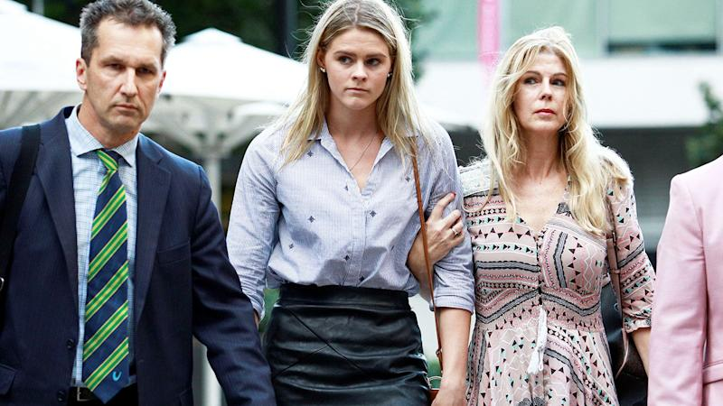 Shayna Jack arrives to meet with ASADA in an attempt to clear her name. (Photo by TERTIUS PICKARD/AFP/Getty Images)