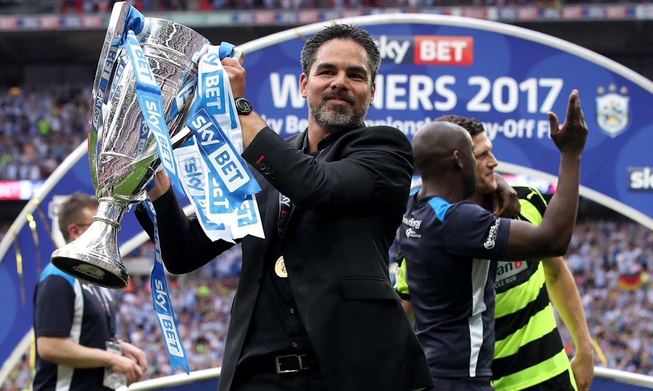 David Wagner with the trophy after Huddersfield beat Reading in the Championship play-off final.