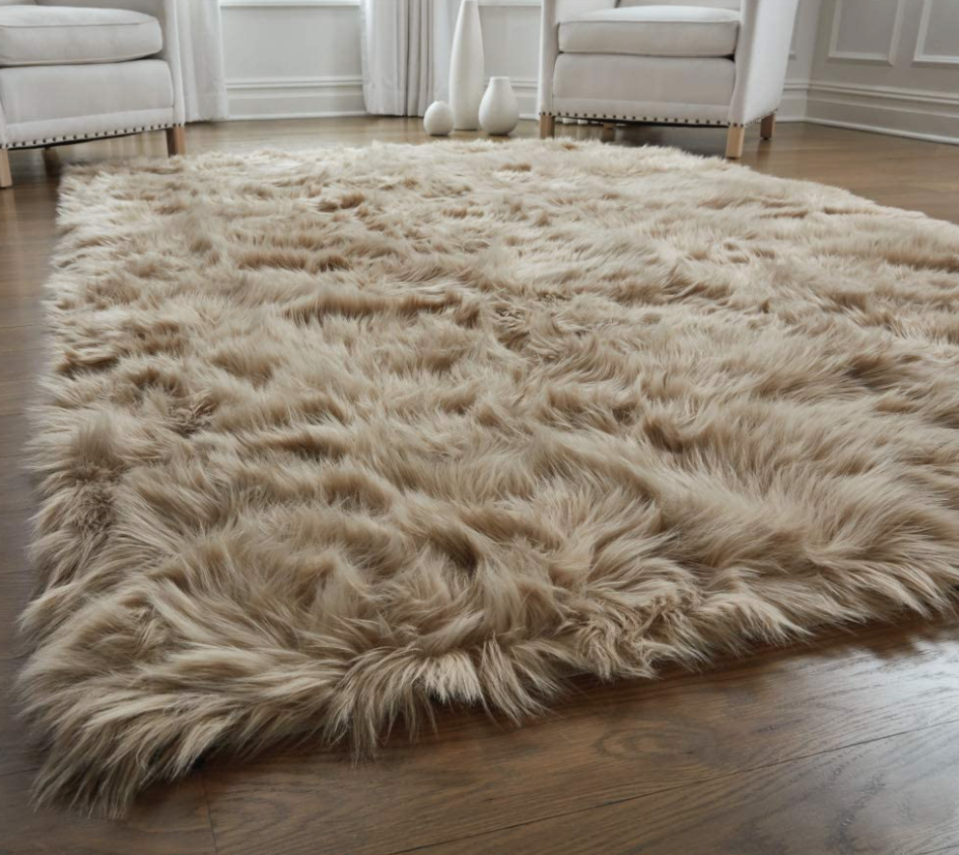 Gorilla Grip Original Faux Fur Area Rug in Beige (Photo via Amazon)