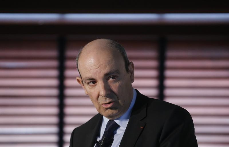 Dassault Aviation Chairman and CEO Trappier attends the company's 2014 annual results presentation in Saint Cloud