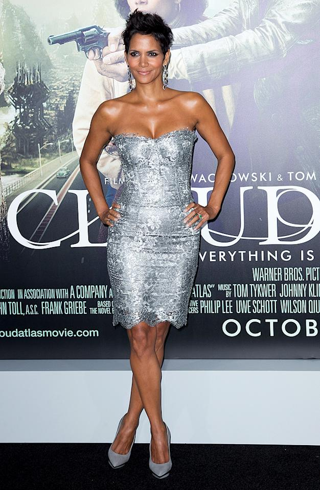 "<p class=""MsoNormal"">Back in Los Angeles, Halle Berry caused quite the commotion when she sauntered into the premiere of her highly anticipated new sci-fi flick, ""Cloud Atlas."" Truth be told, nobody rocks a metallic Dolce & Gabbana mini better than Ms. Berry, who accessorized with gray Versace platform pumps and dripping diamond earrings. (10/24/2012)</p>"