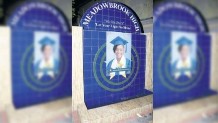 A mural of the late Mickolle Moulton erected on waterfall at Meadow Brooks High School. (Photo: Jamaica Observer)