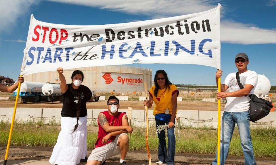 First Nation Canadians protest against the destruction and pollution of the tar sands industry at the annual Healing Walk.