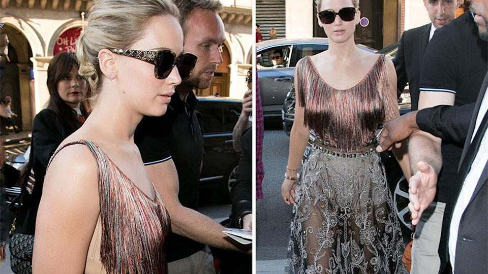 Jennifer Lawrence flashes her undies for fashion