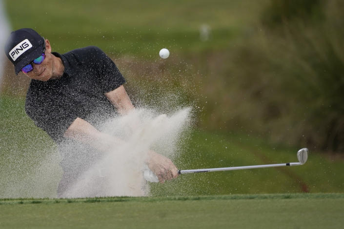 Brandon Hagy hits from the sand on the third hole during the third round of the Honda Classic golf tournament, Saturday, March 20, 2021, in Palm Beach Gardens, Fla. (AP Photo/Marta Lavandier)