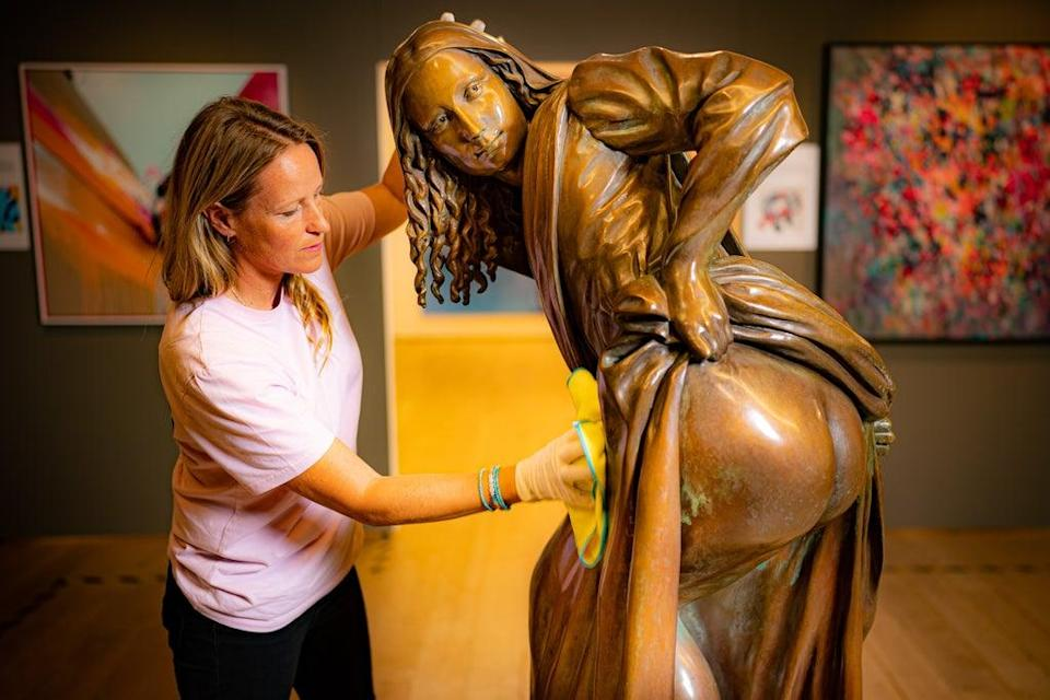 The life-size bronze artwork is based on the painting by street artist Nick Walker (Ben Birchall/PA) (PA Wire)
