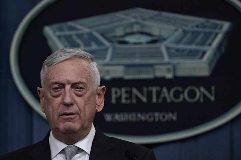 Defense Secretary Jim Mattis briefs members of the media on the Syria airstrikes at the Pentagon on Friday night. (Alex Wong via Getty Images)