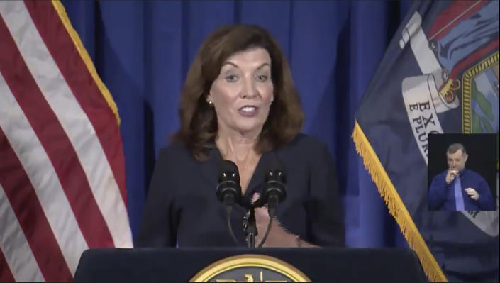 This still image from video, shows New York Lt. Gov. Kathy Hochul as she gives a news conference at the State Capitol, Wednesday, Aug. 11, 2021 in Albany, N.Y. (Office of the Lt. Governor of New York via AP)