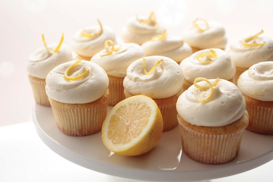 """Looking for Memorial Day desserts that don't require sharing off a single platter or bringing out a stack of plates and forks? Cupcakes are the sweet treat you need, of course. You'll get a blast of refreshing citrus with each bite of these. <a href=""""https://www.epicurious.com/recipes/food/views/lemon-blossom-cupcakes?mbid=synd_yahoo_rss"""" rel=""""nofollow noopener"""" target=""""_blank"""" data-ylk=""""slk:See recipe."""" class=""""link rapid-noclick-resp"""">See recipe.</a>"""