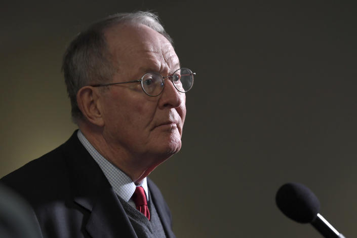 FILE - In this March 19, 2020, file photo Sen. Lamar Alexander, R-Tenn., talks with reporters following a Republican policy lunch on Capitol Hill in Washington. (AP Photo/Susan Walsh, File)
