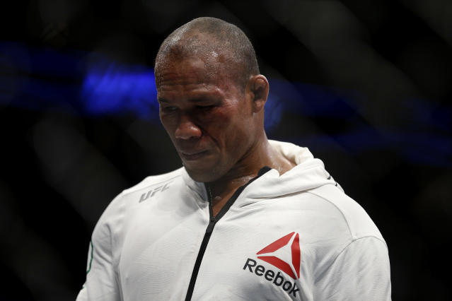 Ronaldo Souza reacts after losing to Jack Hermansson during their middleweight bout at UFC Fight Night at BB&T Center on April 27, 2019 in Sunrise, Florida. (Michael Reaves/Getty Images)