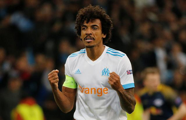 Soccer Football - Europa League Quarter Final Second Leg - Olympique de Marseille v RB Leipzig - Orange Velodrome, Marseille, France - April 12, 2018 Marseille's Luiz Gustavo celebrates at the end of the match REUTERS/Jean-Paul Pelissier