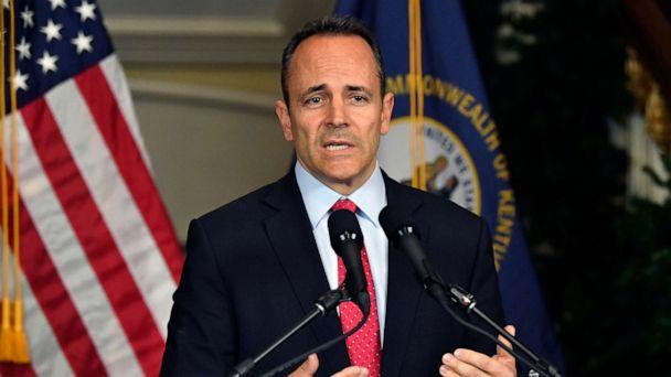PHOTO: Kentucky Governor Matt Bevin announces his intent to call for a recanvass of the voting results from the gubernatorial elections during a press conference at the Governor's Mansion in Frankfort, Ky., Nov. 6, 2019. (Timothy D. Easley/AP)