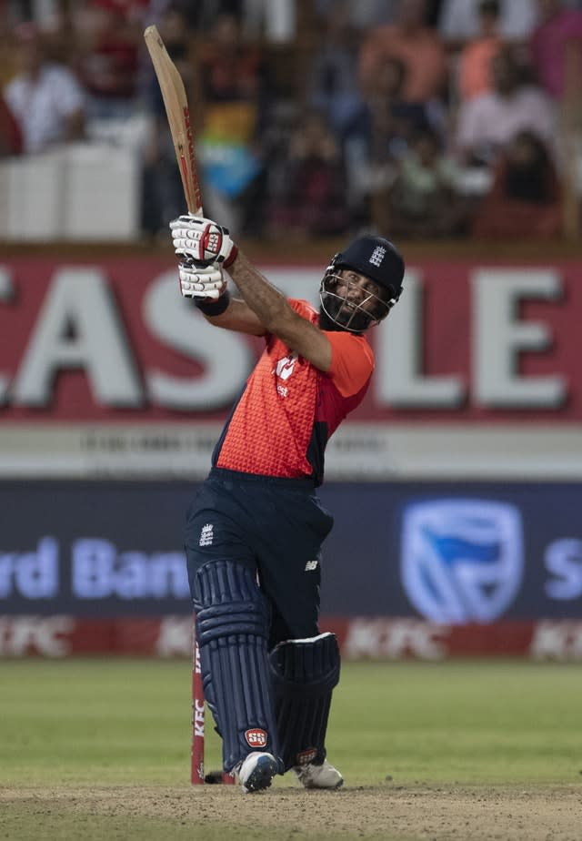 Moeen Ali impressed with some powerful hitting (Themba Hadebe/AP).