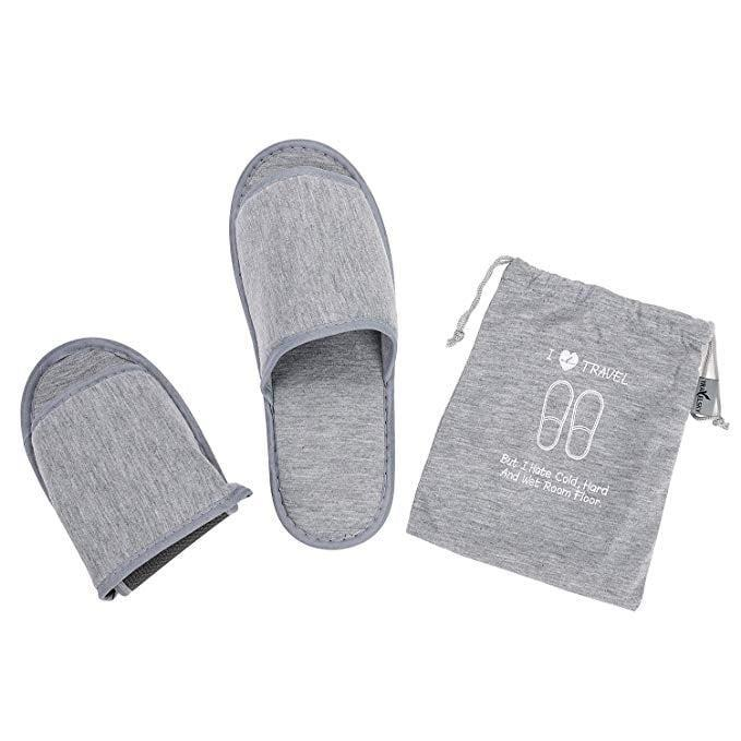 <p>If you're like me and don't like going barefoot in hotels or house rentals, then get the <span>Portable Travel Slippers</span> ($12). They are a great travel accessory, just in case where you're staying doesn't have a pair. Plus, they fold up so tiny, it's easy to pack.</p>