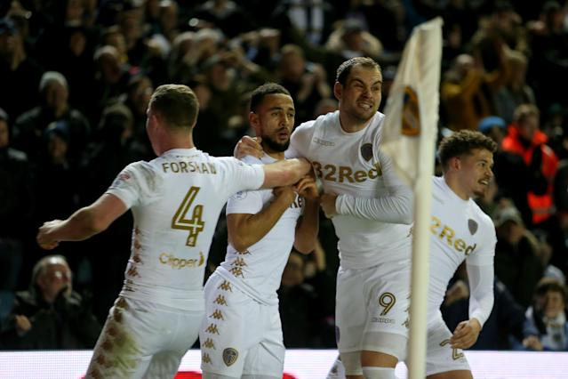 Leeds United's Kemar Roofe celebrates Pierre-Michel Lasogga after netting the late leveller