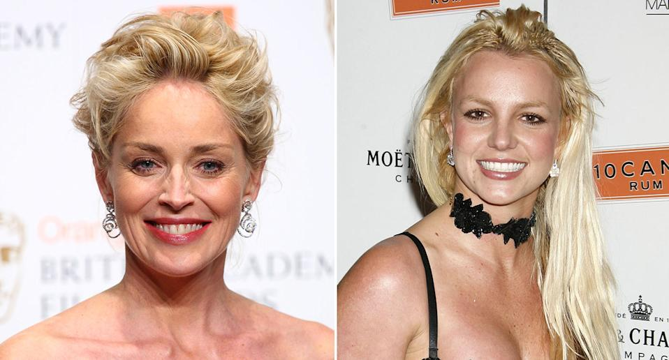 Sharon Stone and Britney Spears both pictured in 2007 (Getty)