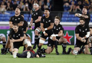 In this Saturday, Sept. 21, 2019, photo, New Zealand's All Blacks perform their haka ahead of the start of the Rugby World Cup Pool B game between New Zealand and South Africa in Yokohama, Japan. (AP Photo/Shuji Kajiyama, File)
