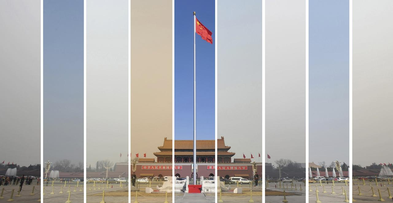 """The air pollution levels in the sky over Tiananmen Square during the National People's Congress (NPC) in Beijing are seen in this combination file picture taken on the dates March 6, 7, 8, 9, 10, 11, 12, 14 and 15 (L-R) in 2013. China will """"declare war"""" on pollution, Premier Li Keqiang said on March 5, 2014 as the country began its annual meeting of parliament.g has mostly stayed above """"very unhealthy"""" and """"hazardous"""" levels since the beginning of this year. REUTERS/Wei Yao/Files (CHINA - Tags: ENVIRONMENT SOCIETY POLITICS TPX IMAGES OF THE DAY) CHINA OUT. NO COMMERCIAL OR EDITORIAL SALES IN CHINA"""