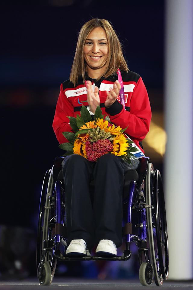 LONDON, ENGLAND - SEPTEMBER 09: Newly elected member of the IPC Council Gizem Girismen of Turkey looks on during the closing ceremony on day 11 of the London 2012 Paralympic Games at Olympic Stadium on September 9, 2012 in London, England. (Photo by Peter Macdiarmid/Getty Images)