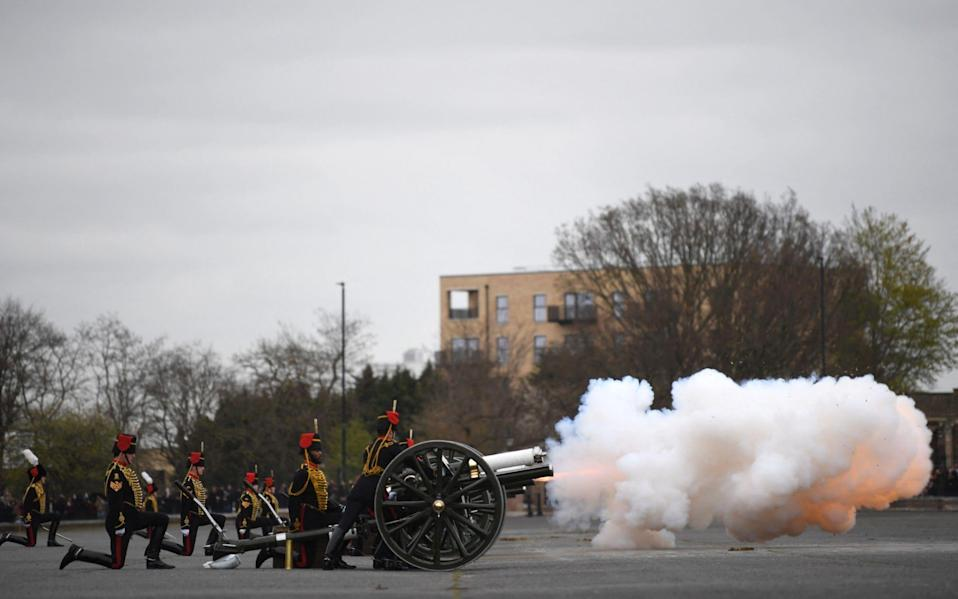 The Death Gun Salute is fired by The Kings Troop Royal Horse Artillery to mark the passing of Britain's Prince Philip, Duke of Edinburgh, at the Parade Ground, Woolwich Barracks - Daniel Leal-OIivas/AFP