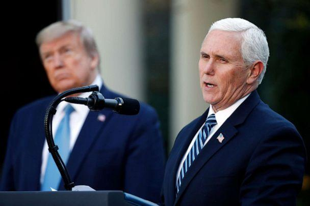 PHOTO: President Donald Trump listens as Vice President Mike Pence speaks about the coronavirus in the Rose Garden of the White House, April 15, 2020, in Washington. (Alex Brandon/AP)