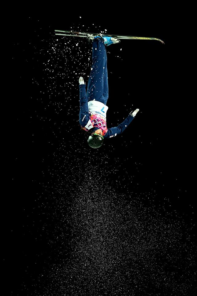 SOCHI, RUSSIA - FEBRUARY 14: Emily Cook of the United States competes in the Freestyle Skiing Ladies' Aerials Finals on day seven of the Sochi 2014 Winter Olympics at Rosa Khutor Extreme Park on February 14, 2014 in Sochi, Russia. (Photo by Clive Mason/Getty Images)