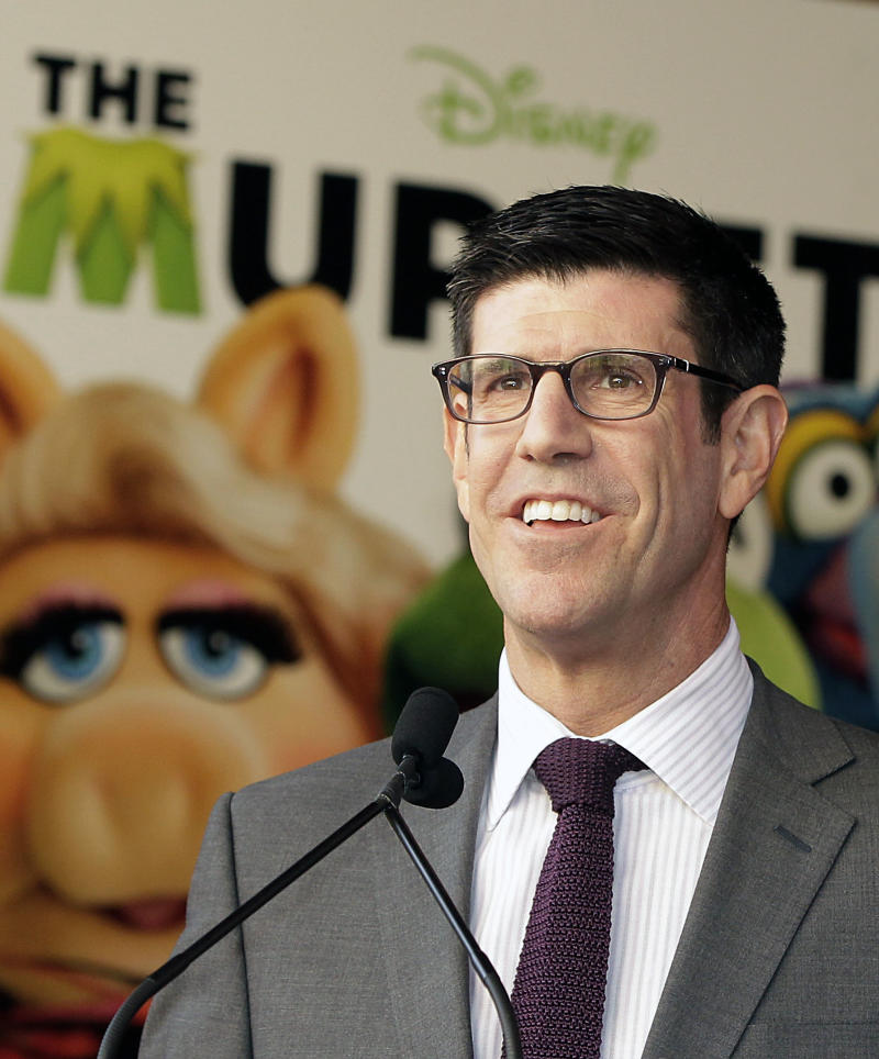 FILE - In this March 30, 2012 file photo  Rich Ross, chairman of the Walt Disney Studios speaks during a Walk of fame star ceremony for The Muppets in the Hollywood section of Los Angeles. Rich Ross stepped down as the Disney movie studio boss on Friday April 20, 2012, taking the fall for at least a couple of over-budgeted bombs as Hollywood shies away from taking risks on big blockbusters. (AP Photo/Damian Dovarganes, File)