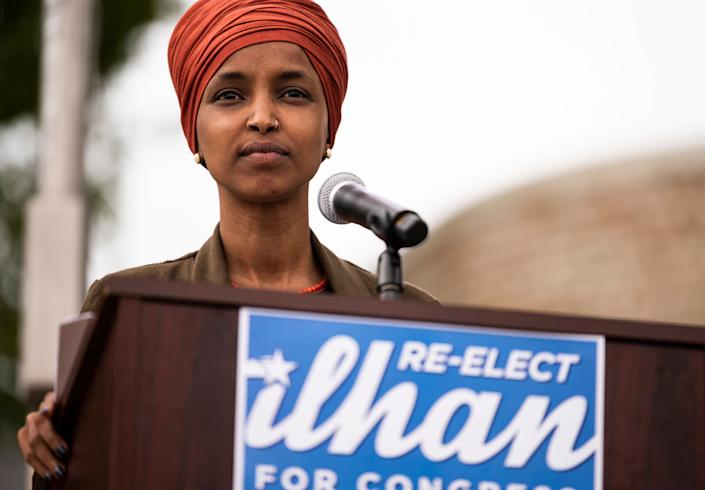 Rep. Ilhan Omar (D-Minn.) speaks at a news conference in St. Paul, Minnesota, Wednesday. Omar is locked in an unexpectedly competitive reelection fight. (Photo: Stephen Maturen/Getty Images)