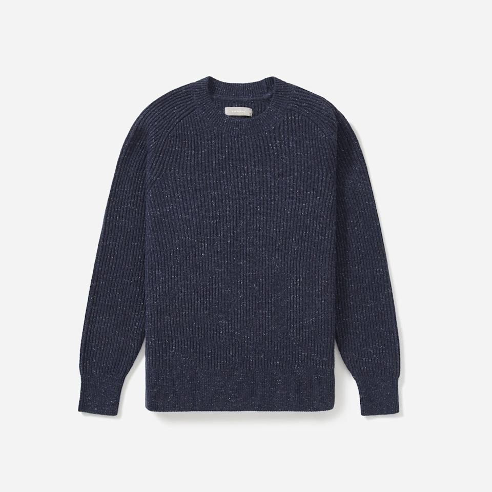 """<p><strong>Everlane</strong></p><p>everlane.com</p><p><strong>$66.00</strong></p><p><a href=""""https://go.redirectingat.com?id=74968X1596630&url=https%3A%2F%2Fwww.everlane.com%2Fproducts%2Fmens-tri-twist-sweater-navy-melange&sref=https%3A%2F%2Fwww.esquire.com%2Fstyle%2Fmens-fashion%2Fg33391536%2Feverlane-summer-sale%2F"""" rel=""""nofollow noopener"""" target=""""_blank"""" data-ylk=""""slk:Buy"""" class=""""link rapid-noclick-resp"""">Buy</a></p><p>The crewneck sweater you'll want to wear year-round, in a cotton/wool/linen blend that'll actually let you do it. </p>"""