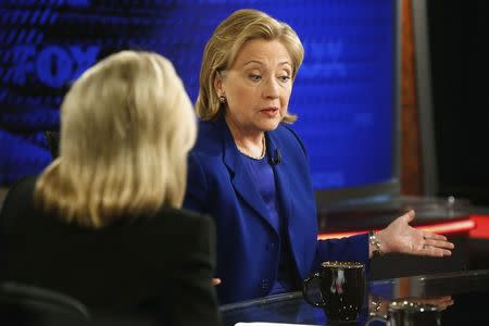 Former U.S. Secretary of State Hillary Clinton sits for an interview with Van Susteren at the FOX News Channel studio in Washington