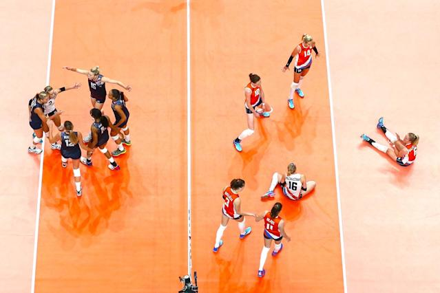 <p>United States players celebrats a point during the Women's Preliminary Pool B match between the Netherlands and the United States on Day 3 of the Rio 2016 Olympic Games at the Maracanazinho on August 8, 2016 in Rio de Janeiro, Brazil. (Photo by Cameron Spencer/Getty Images) </p>