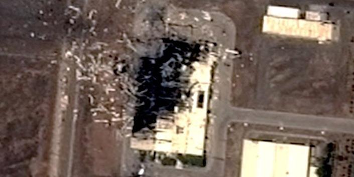 A satellite image of the Iran Centrifuge Assembly Center building at Iran's Natanz Enrichment Site on July 4, 2020, two days after an explosion.