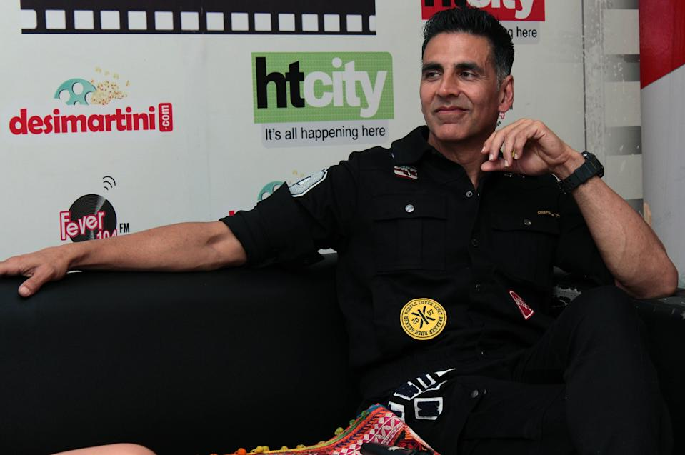 NEW DELHI, INDIA - OCTOBER 17: (EDITORS NOTE: This is an exclusive image of Hindustan Times) Bollywood actor Akshay Kumar during an exclusive interview with HT City-Hindustan Times for promotion of upcoming movie Housefull 4' at HT Media office, on October 17, 2019 in New Delhi, India. (Photo by Shivam Saxena/Hindustan Times via Getty Images)