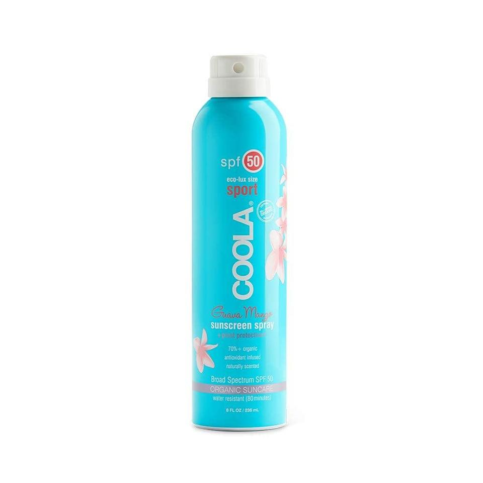 "<h2>COOLA Organic Body Sunscreen Spray SPF 50</h2> <br><strong>Best: Body-Spray Sunscreen</strong><br>Gluten, oxybenzone, and aerosol-free, this tropical-scented spray is also water-resistant and boasts anti-aging benefits with its antioxidant-rich formula (including everything from organic cucumber to algae, strawberry, and raspberry extracts and oils).<br><br><strong>The Hype:</strong> 4.4 out of 5 stars and 73 reviews on Amazon<br><br><strong>Reviewers Say:</strong> ""This sunscreen smells amazing, feels great, and seems to cover very well. I especially love using it when I am out all day somewhere because of the delicious smell and the fact that it feels like it really stays put — all while being super lightweight and silky on your skin.""<br><br><strong>Deals: </strong>Select COOLA products are <strong>up to 30% off</strong> on <strong><a href=""https://amzn.to/2Dvw9go"" rel=""nofollow noopener"" target=""_blank"" data-ylk=""slk:Amazon"" class=""link rapid-noclick-resp"">Amazon</a></strong><br><br><strong>Coola</strong> Organic Sunscreen Body Spray SPF 50, $, available at <a href=""https://amzn.to/2OFx28d"" rel=""nofollow noopener"" target=""_blank"" data-ylk=""slk:Amazon"" class=""link rapid-noclick-resp"">Amazon</a><br><br><br><br><br><br><br><br>"