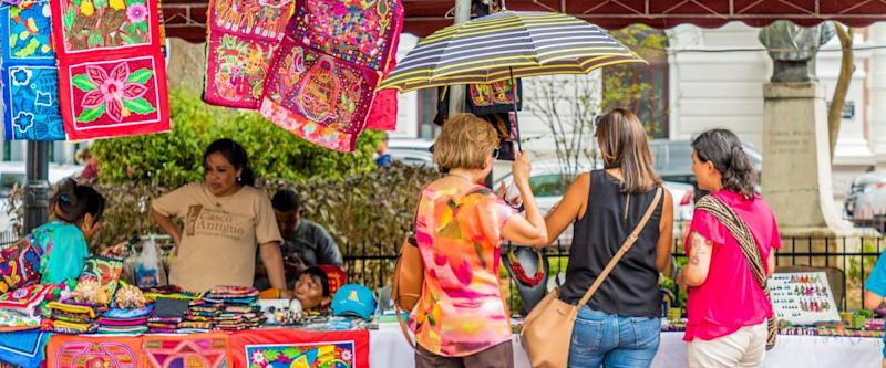 Panama City, Panama. March 2018. A view of a market selling souvenirs in Panama City in Panama