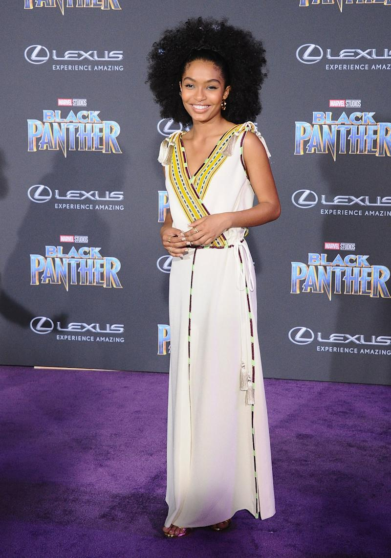Who: Yara Shahidi What: Etro Where: At the Black Panther premiere, Los Angeles When: January 29, 2018