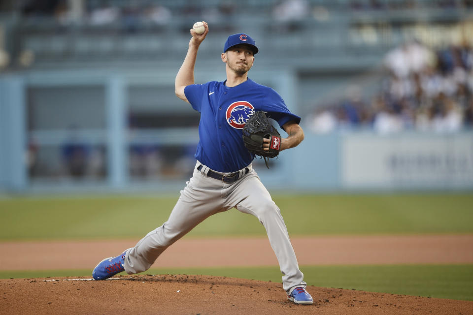 Chicago Cubs starting pitcher Zach Davies delivers a pitch during the first inning of a baseball game against the Los Angeles Dodgers in Los Angeles, Thursday, June 24, 2021. (AP Photo/Kelvin Kuo)