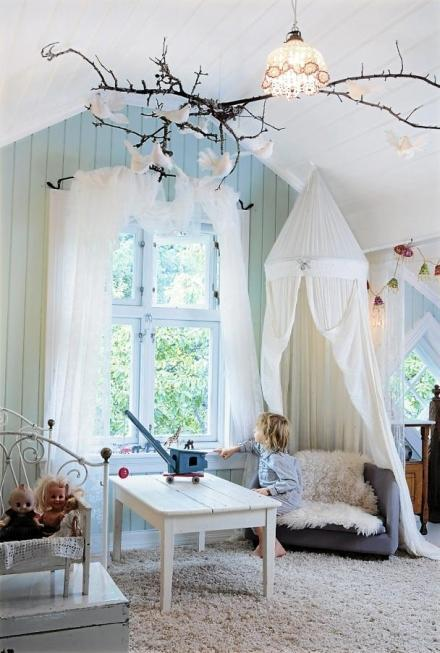 """<div class=""""caption-credit""""> Photo by: House of Many Hues</div><div class=""""caption-title"""">Bring in the Light</div>Try mustering an ethereal air into your kids' rooms by bringing in more white and natural light. Combine that with nature-like touches (for ex. that branch atop a light) to calm the little ones and get them ready to hop into an adventurous read. <br> <i><a rel=""""nofollow noopener"""" href=""""http://blogs.babble.com/family-style/2012/08/13/25-cute-and-cozy-kids-reading-nooks/#using-a-canopy"""" target=""""_blank"""" data-ylk=""""slk:Get the inspiration here"""" class=""""link rapid-noclick-resp"""">Get the inspiration here</a></i> <br> <br> <i><b><a rel=""""nofollow noopener"""" href=""""http://blogs.babble.com/the-new-home-ec/2012/08/05/14-stylish-and-space-smart-kids-homework-stations/"""" target=""""_blank"""" data-ylk=""""slk:Related: 14 creative homework stations for kids"""" class=""""link rapid-noclick-resp"""">Related: 14 creative homework stations for kids</a></b></i> <br>"""