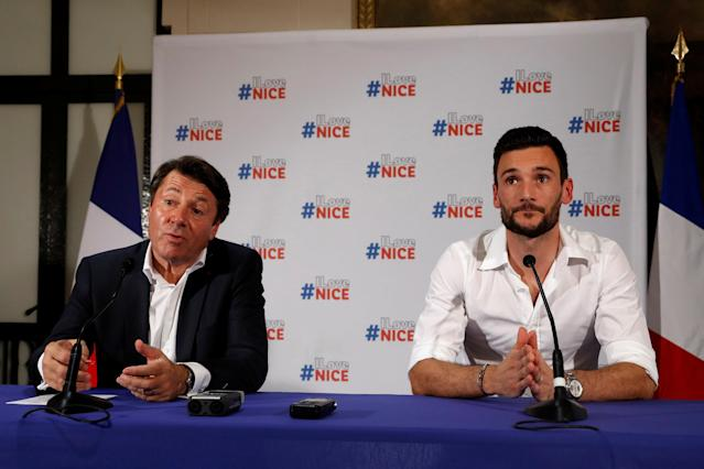 France soccer team goalkeeper Hugo Lloris attends a news conference with Christian Estrosi, Mayor of Nice, at the city hall in Nice, after their victory in the 2018 Russia Soccer World Cup, France, July 18, 2018. REUTERS/Eric Gaillard