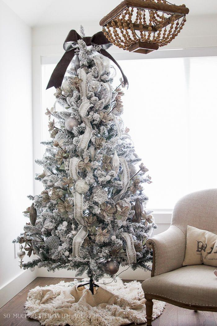 """<p>You can make your tree glitter and shine without clashing with your other decor by sticking with neutrals. </p><p><strong><em>Get the tutorial at <a href=""""https://somuchbetterwithage.com/glittered-jewelled-christmas-tree/"""" rel=""""nofollow noopener"""" target=""""_blank"""" data-ylk=""""slk:So Much Better With Age"""" class=""""link rapid-noclick-resp"""">So Much Better With Age</a>. </em></strong></p><p><a class=""""link rapid-noclick-resp"""" href=""""https://www.amazon.com/Reliant-Ribbon-Plush-Velvet-silver/dp/B0845NXB18?tag=syn-yahoo-20&ascsubtag=%5Bartid%7C10070.g.2025%5Bsrc%7Cyahoo-us"""" rel=""""nofollow noopener"""" target=""""_blank"""" data-ylk=""""slk:SHOP JEWEL TRIM RIBBON"""">SHOP JEWEL TRIM RIBBON</a></p>"""