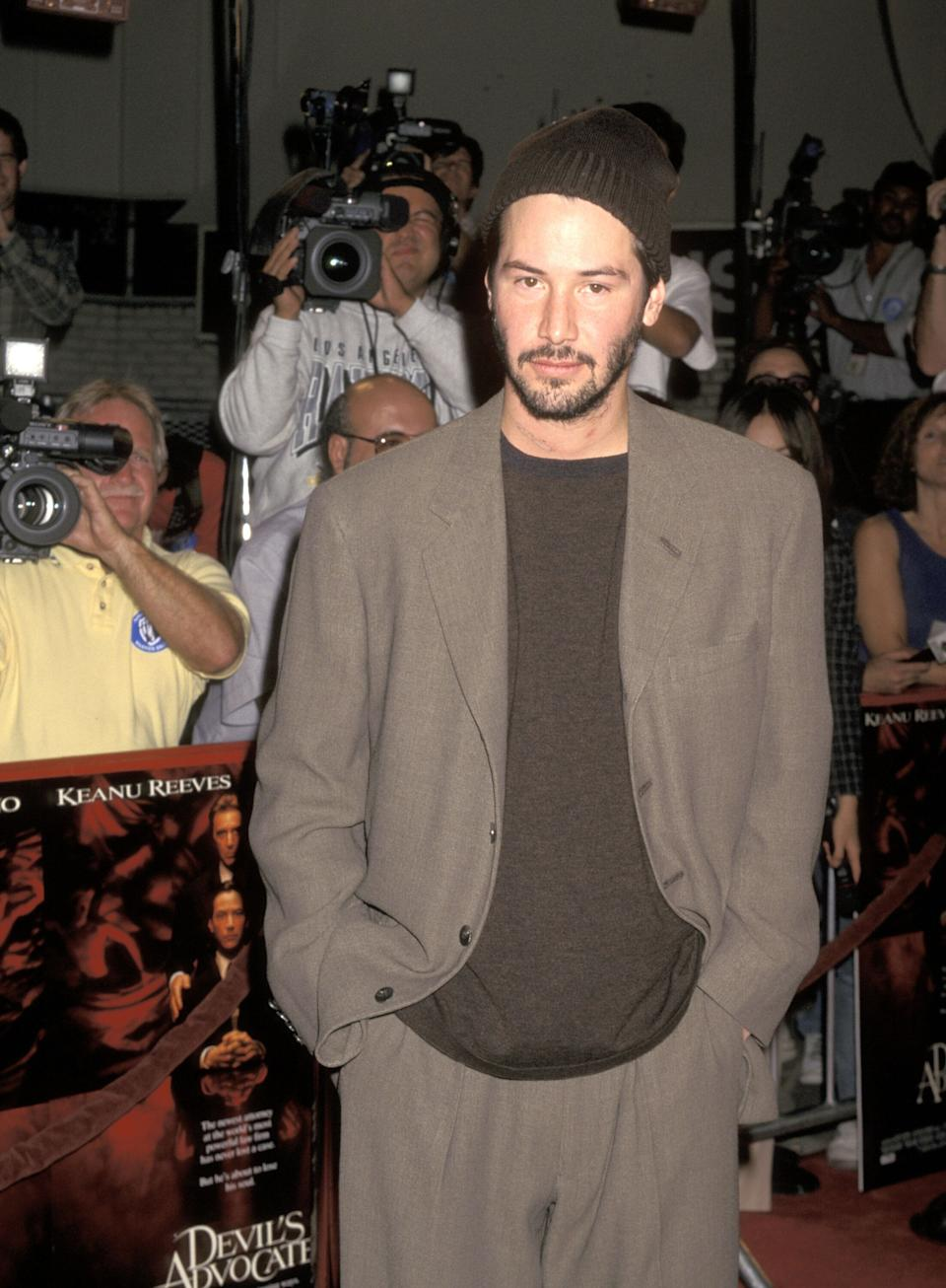 """Reeves at the """"Devil's Advocate"""" premiere at Mann Village Theatre in Westwood, California."""