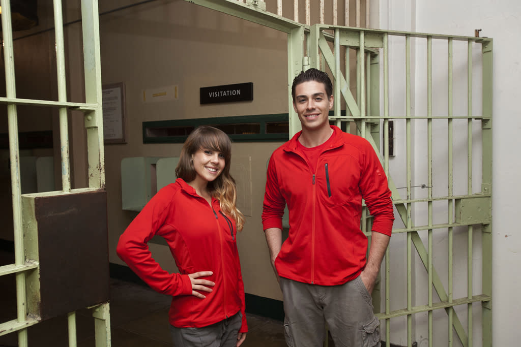 """Contestants Meghan and Miles from """"The Great Escape,"""" at the infamous Alcatraz prison in San Francisco."""