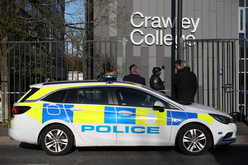Police activity at Crawley College, Crawley, West Sussex, following