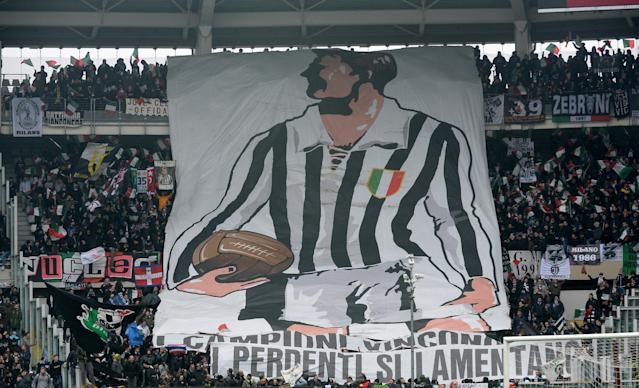 Soccer Football - Serie A - Torino vs Juventus - Stadio Olimpico Grande Torino, Turin, Italy - February 18, 2018 Juventus fans display a banner during the match REUTERS/Massimo Pinca