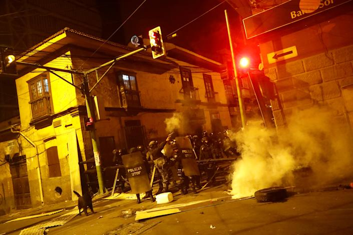 Police fire tear gas during clashes between protesters against Bolivia's President Evo Morales and government supporters, in La Paz, Bolivia Nov. 7, 2019. (Photo: Kai Pfaffenbach/Reuters)