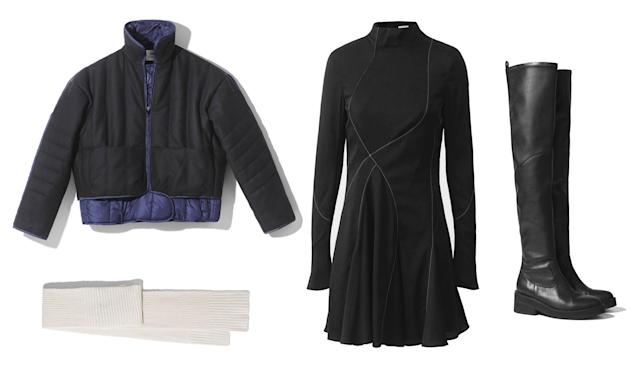 <p><i>'Tis the season for fall apple picking and drinking hot cocoa. For the days you will be outdoors, but still want to look chic and warm, we suggest pairing the H&M Studio quilted jacket with their turtleneck dress for a feminine, yet cozy outfit. Accessorize with a simple scarf and tall black boots. (Photo courtesy of H&M) </i></p>