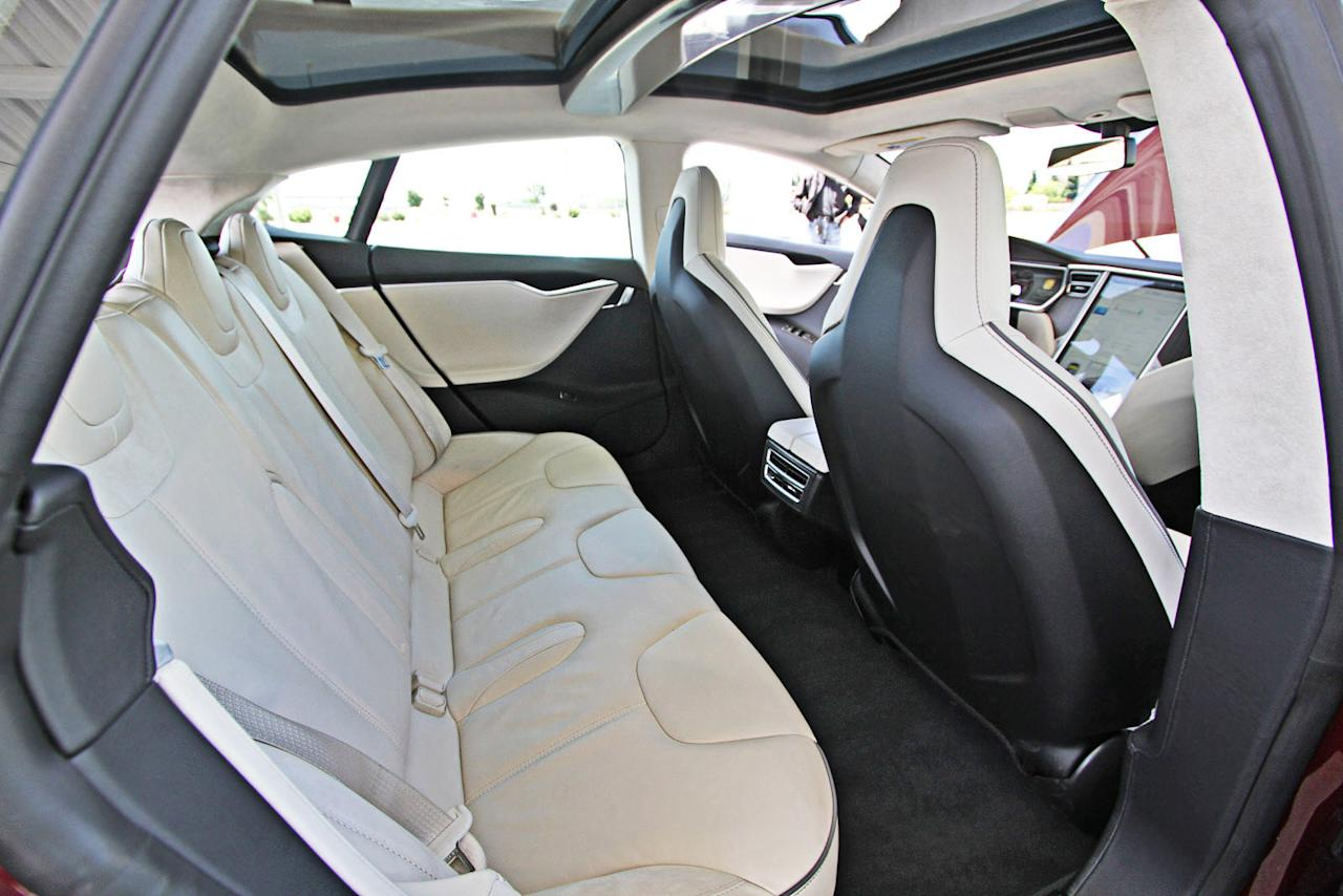 The rear seat of the Tesla Model S.