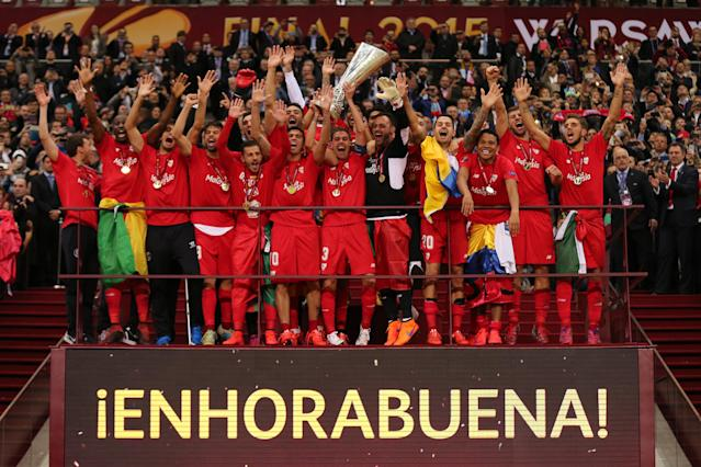 Sevilla - captained by Reyes - celebrate winning the UEFA Europa League trophy in 2015 for a second consecutive win (Photo by AMA/Corbis via Getty Images)