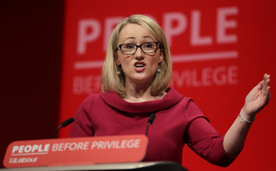 Rebecca Long-Bailey, Britain's Shadow Business secretary speaks on stage during the Labour Party Conference at the Brighton Centre in Brighton, England, Tuesday, Sept. 24, 2019. (AP Photo/Kirsty Wigglesworth)